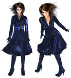 3d Girl in Dark Blue Coat Royalty Free Stock Image