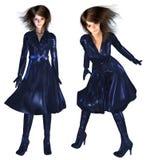 3d Girl in Dark Blue Coat Royalty Free Stock Image