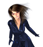 3d Girl in Dark Blue Coat Stock Photography