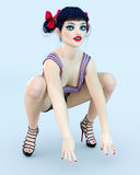 3D girl doll big blue eyes and bright makeup. Royalty Free Stock Photo