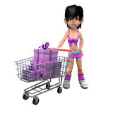 3d Girl has gone shopping with her trolley Royalty Free Stock Image