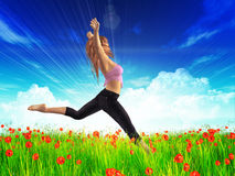 3d girl jumping in poppies field Royalty Free Stock Images