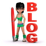 3d Girl keeps a blog Royalty Free Stock Photography
