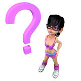 3d Girl with a question mark Royalty Free Stock Images