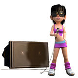 3d Girl sings with a microphone Royalty Free Stock Photo