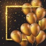 3D glansowani złoci ballons z ramą i confetti Zdjęcie Royalty Free