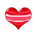 3D glanzend rood die hart, op wit wordt geïsoleerd Stock Foto