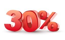 3d glanzende rode kortingsinzameling - 30 percenten Royalty-vrije Stock Fotografie