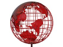3D glass earth globe illustration. 3D render illustration of a red glass earth globe. The composition is isolated on a white background royalty free illustration
