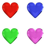 3D Glass Hearts. (4 Colors) - Isolated on White or Transparent Background Stock Photography