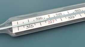3d glass mercury thermometer isolated on a background, temperature checking