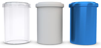 3d glass,plastic and metal jars. On white background Royalty Free Stock Image