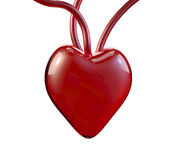 3D glass red heart, Valentine`s or love theme Stock Photos