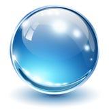 3D glass sphere. Blue, vector illustration Stock Photo
