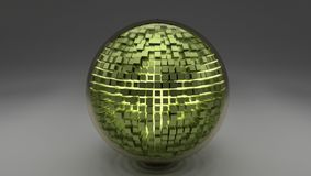 3d glass sphere with some green cubes royalty free illustration
