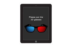 3d Glasses Advice on screen tablet Stock Photo
