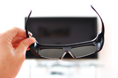 3D glasses. Against TV-set Royalty Free Stock Images