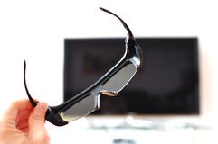 3D glasses. Against TV-set Royalty Free Stock Image