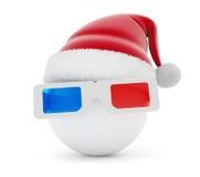 3d glasses ball santa hat. On a white background Stock Image