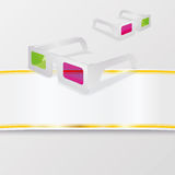 3D glasses and band. 3D glasses and white band Royalty Free Stock Image