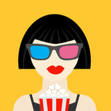 3D glasses and big popcorn. Brunet girl at the Cinema theatre Black dress Flat dsign style icon. Stock Photo