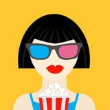 3D glasses and big popcorn. Brunet girl at the Cinema theatre Flat style icon. Stock Image