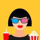 3D glasses big popcorn and soda. Brunet girl at Stock Photo
