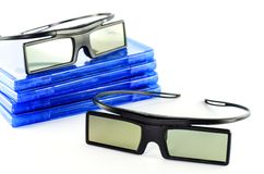 3D glasses. Blu-ray disc and 3D glasses  isolated on white Royalty Free Stock Photos