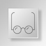 3D Glasses Button Icon Concept Stock Images