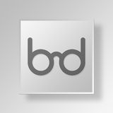 3D Glasses Button Icon Concept Royalty Free Stock Photography