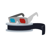3d glasses cinema movie design. 3d glasses film reel cinema movie entertainment show icon. Flat and Isolated design. Vector illustration Stock Photos