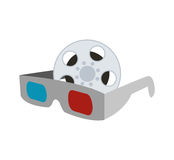 3d glasses cinema movie design. 3d glasses film reel cinema movie entertainment show icon. Flat and Isolated design. Vector illustration Royalty Free Stock Photo