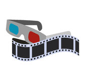 3d glasses cinema movie design. 3d glasses film strip cinema movie entertainment show icon. Flat and Isolated design. Vector illustration Royalty Free Stock Images
