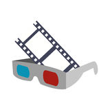 3d glasses cinema movie design. 3d glasses film strip cinema movie entertainment show icon. Flat and Isolated design. Vector illustration Stock Photo