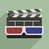 3D glasses and clapper board. Minimalistic illustration of a clapper board with 3D glasses on top, symbol for film and video Stock Photography