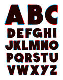 3d glasses effect alphabet font type Stock Image