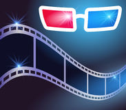 3d glasses and film strip. 3d glasses in dark movie theater and film strip Royalty Free Stock Images