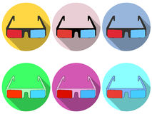 3d glasses are flat with a long shadow. Modern design of glasses. Red and blue lenses. Set of icons. Vector Stock Image