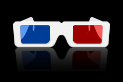 3D Glasses Icon. Icon of 3D glasses with reflection on black background Royalty Free Stock Photography