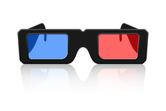 3D Glasses. Icon of 3D glasses with reflection isolated on white background Stock Images