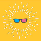 3D Glasses Icon. Shining effect dash line. Yellow Royalty Free Stock Image