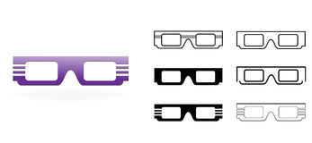 3D Glasses Icon, vector illustration Stock Photos