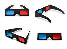 3d glasses isolated collection set on a white background vector. Illustration. Element for watching movies in cinema. The concept symbol elementary stereoscopic Stock Photography