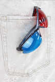 3d glasses in jeans pocket. Royalty Free Stock Image