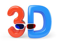 3d glasses and letters Royalty Free Stock Photography