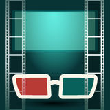 3d glasses with luminous screen and film strip. 3d glasses in dark movie theater with luminous screen and film strip Royalty Free Stock Photography