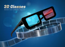 3d glasses movie cinema object. 3d glasses  cinema movie theater object on bokeh background Royalty Free Stock Photos