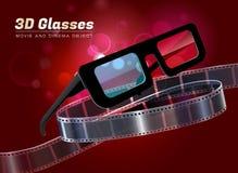 3d glasses movie cinema object vector illustration Stock Images