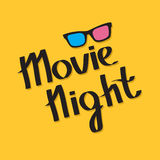 3D glasses. Movie night text. Lettering. Yellow background. Flat design. Stock Photo