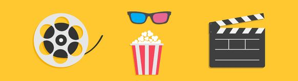 3D glasses Movie reel Open clapper board Popcorn box. Cinema icon set line. Flat design style. Yellow background. Isolated. Vector illustration royalty free illustration
